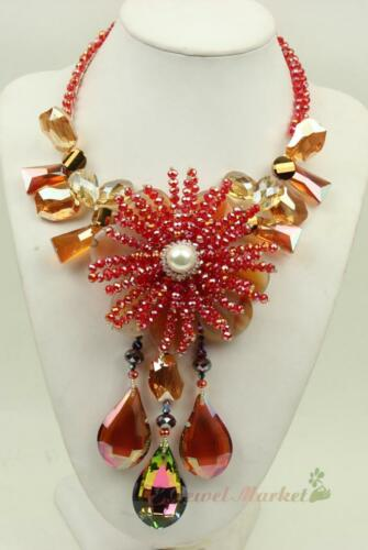 N14112405 red agate shining faced crystal flower statement necklace