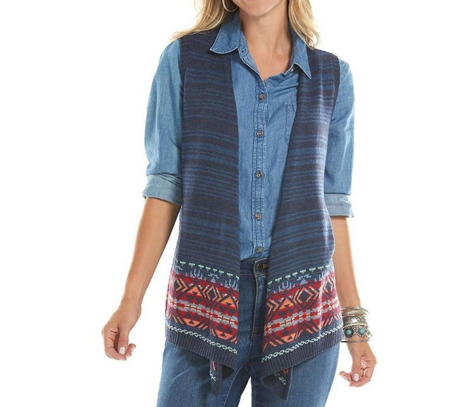 Chaps bluee Open Front Aztec Tribal Border Sweater Vest Womens M L NEW  69