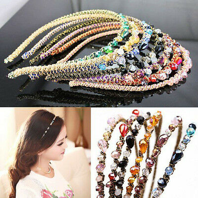 Women Girls Crystal Headband Glitter Hair Clips Pins Band Hoop Accessories Party