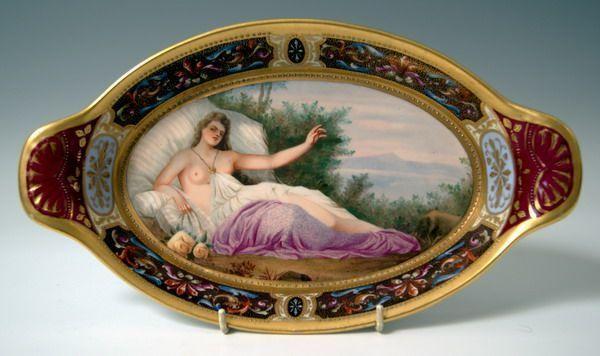 ROYAL VIENNA WIEN OVALE PLATTE GOLD ARTEMIS OVAL BOWL PLATE BOHEMIA UM 1870