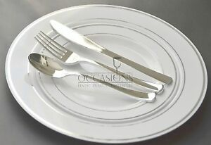 Image is loading Bulk-Wedding-Party-Disposable-Plastic-Plates -and-silverware- : plastic plates bulk cheap - pezcame.com