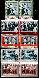 Philippines US President John F. Kennedy 5 values PERFORATE in pair mint NH