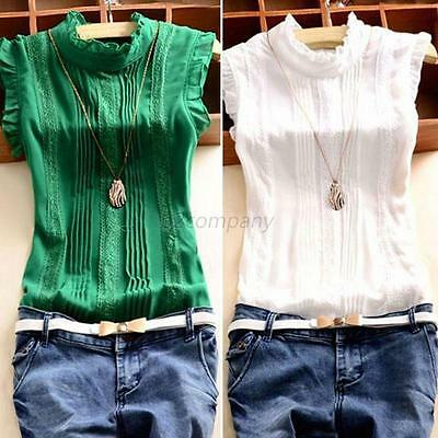 Summer Women's Ruffle Sleeve Tops Blouse Shirt Vintage Chiffon Shirt S-XL Tee