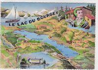 CPSM 73 carte géographique SAVOIE le Lac du Bourget Illustration André Marey