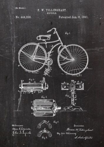 Bycicle1891 Twillinghast Patent Art A4 Fine Art-Print in Galeriequalität A4 01