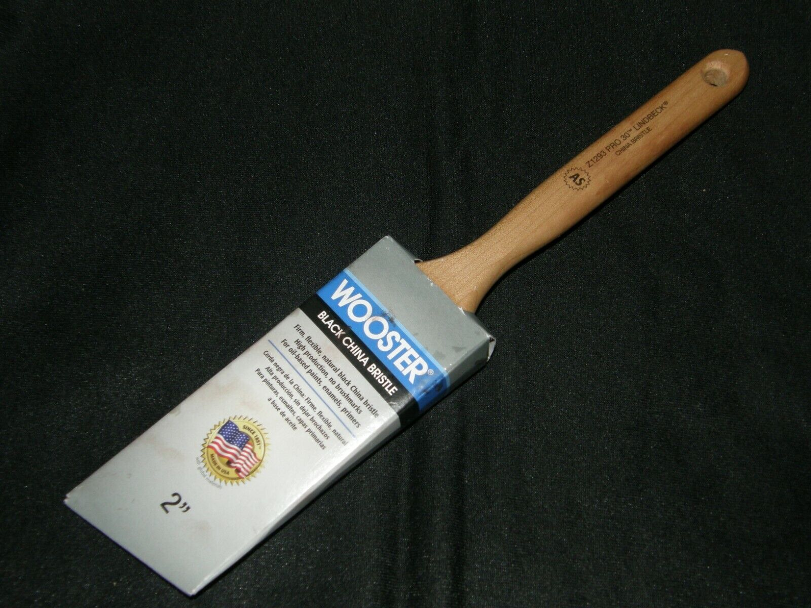 Wooster  Pro 30 Lindbeck  2 in W Angle  Black China Bristle  Paint Brush
