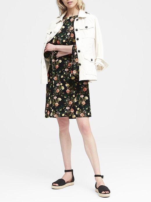 Banana Republic Floral Tie-Sleeve Shift Dress, sz 0