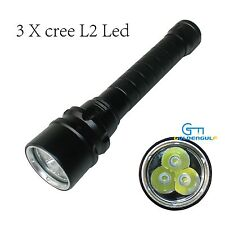 4000LM SCUBA Diving LED Flashlight with Battery and Charger 100m Underwater Lamp
