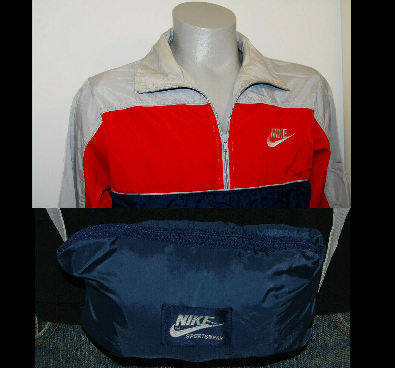 80s Nike windbreaker jacket medium block color gray red blue pullover fanny pack