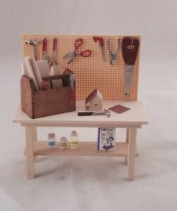 Work-bench-tools-garage-table-dollhouse-1-12-scale-dollhouse-SH0032-miniature