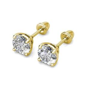 0.5CT BRILLIANT SOLITAIRE EARRINGS 14K SOLID WHITE GOLD ROUND SCREW-BACK STUDS