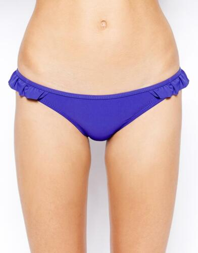 Warehouse Bikini Bottoms Blue Hipster Low Rise Front Lined Frilled Hips
