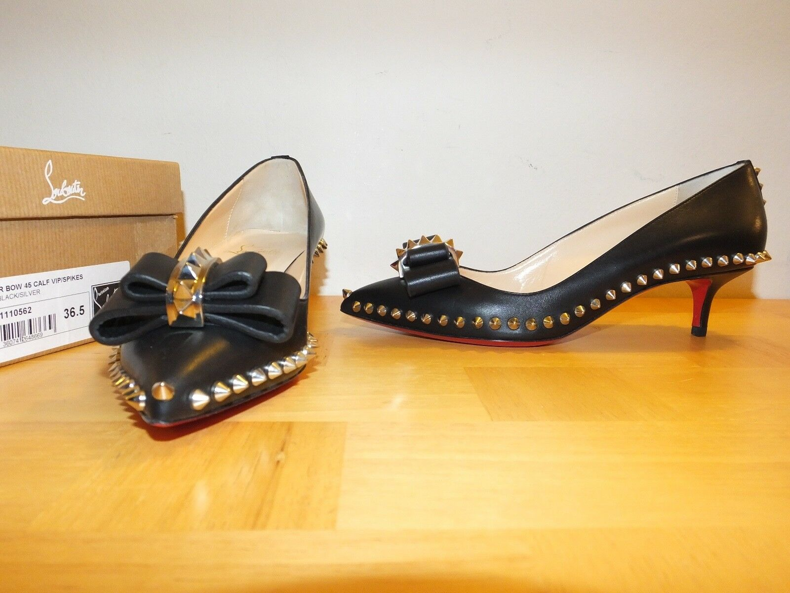 Christian Louboutin Lucifer Bow Calf Spikes EU 36.5 UK4 NEW