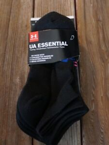 004cdd5e1d Details about Under Armour No Show Socks Womens 6-9 M UA Essential 4y-8y  Youth 6 Pack Black
