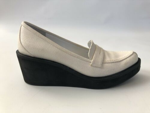 3.1 Phillip Lim White Canvas Chunky Wedge Loafer S