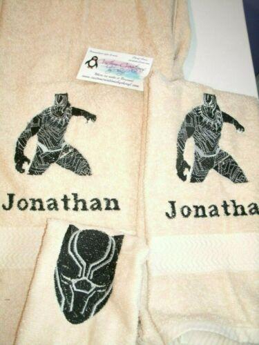 Black Panther Personalized 3 Piece Bath Towel Set Superhero Towels