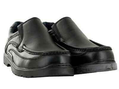 MENS BLACK FORMAL OFFICE SMART WEDDING CASUAL SLIP ON SHOES UK SIZE 6-12