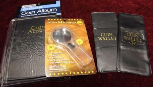 WHITMAN 60 24 12 Pocket Coin Holder Album for 2x2 Storage 6x Magnifier 2 in 1