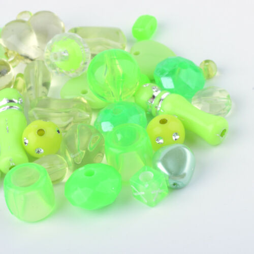 500g Acrylic Beads Mixed Shapes For Jewelry Making 5.5~28x6~20x3~11mm Hole 1~5mm