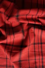 "Dark Red Black Tartan Check Vintage Japanese Kimono Wool Cushion Fabric 50"""