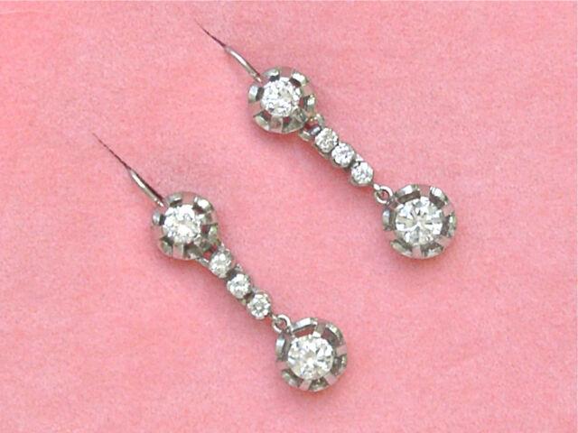 ANTIQUE 1.60ctw DIAMOND DROP PLATINUM DANGLE COCKTAIL WIRE EARRINGS 1940