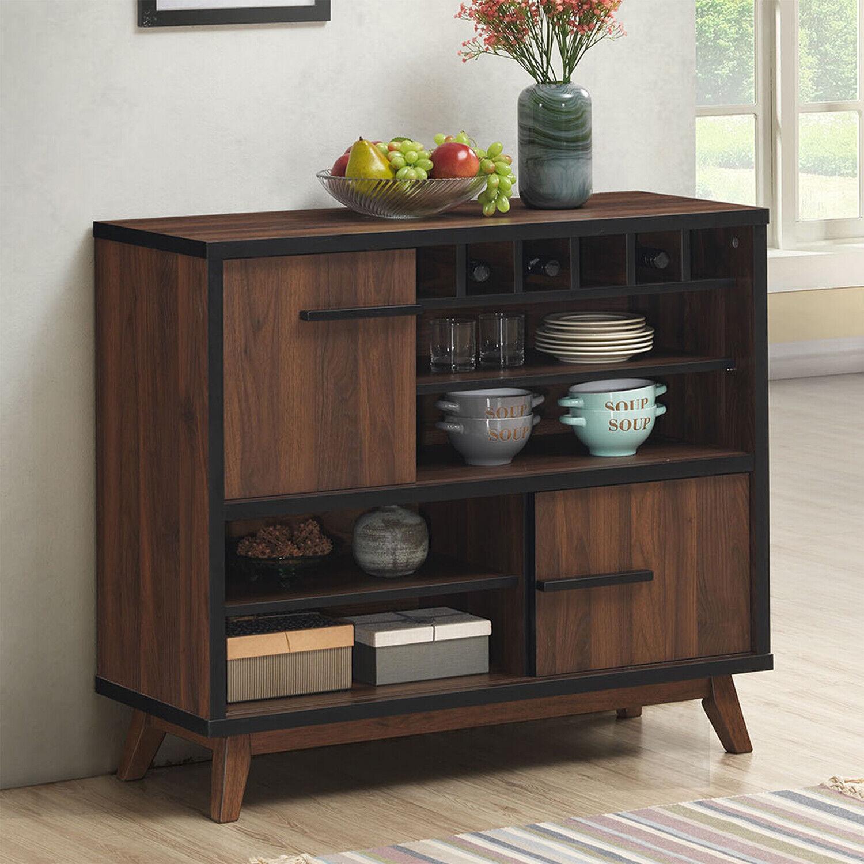 Wine Rack Bar Console Table Mid Century Modern Light Walnut 24 Bottle Cabinet For Sale Online Ebay