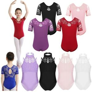 Girls-Lace-Ballet-Dance-Dress-Kids-Gymnastics-Camisole-Leotard-Dancewear-Costume