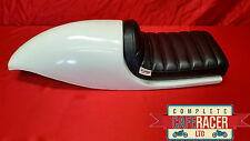 CAFE RACER SEAT MOTO GUZZI STYLE WITH BLACK DELUXE BOLT ON/OFF PAD IN WHITE