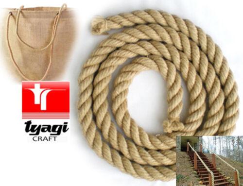 Natural jute twisted corde de jardin sac poignées forte sash ESCRIME main courante chanvre