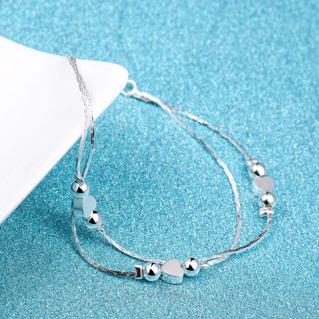 Women 925 Sterling Silver Rhinestone Love Heart Bangle Cuff Bracelet Jewelry