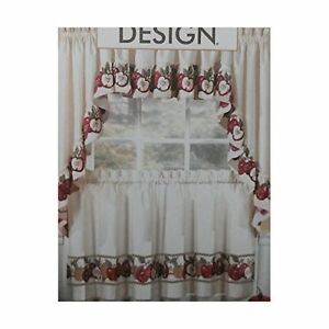 3pc Kitchen Cafe Apple Curtain Tier Swag Set Window Valance Decor ...