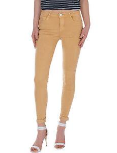 Damen-Jeans-Hose-normaler-Bund-push-up-Damenhose-stretch-weiss-khaki-ocker-Neu