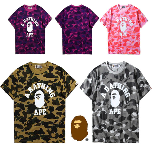 e23f61bc16d4 Japanese BAPE Camouflage Short Sleeve tee A Bathing Ape Men Monkey Head T- shirt