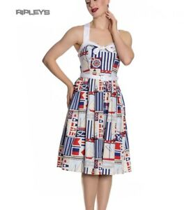 Hell-Bunny-White-Blue-50s-Pin-Up-Dress-LIGHTHOUSE-Sailor-Nautical-All-Sizes