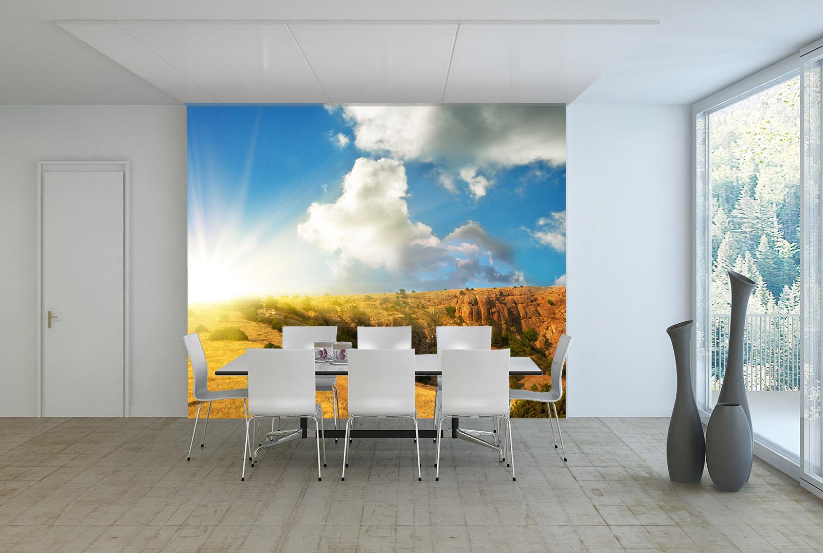 3D Sun, bluee sky, yellow land Wall Paper Wall Print Decal Wall Deco AJ WALLPAPER