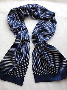 Elegante-FIOCCHETTO-Uomo-100-SETA-a-doppio-strato-bianco-Dot-Sciarpa-lunga-blu