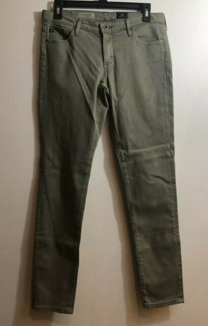 AG Adriano Goldschmied The Legging Ankle Jeans Super Skinny Olive Green Size 28R