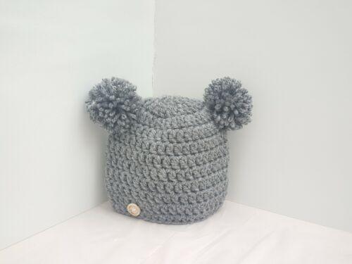 * New Handmade crochet Baby Girl Boy Pompom Hats newborn 7years