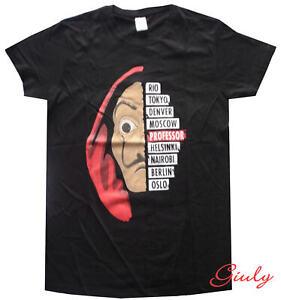 T-shirt-maglietta-La-Casa-di-Carta-Netflix-maglia-cotone-nero-unisex-serie-Tv