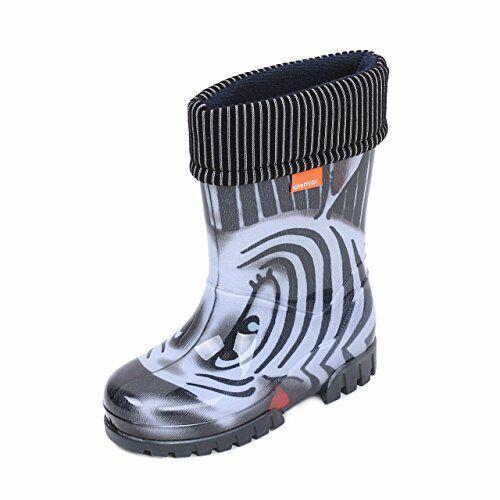 WELLIES KIDS RAIN SNOW BOOTS REMOVABLE INNER LINING Baby Boys Girls// ZEBRA BLACK