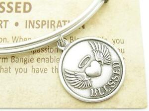Wind-and-Fire-Blessed-Heart-Charm-Silver-Wire-Stackable-Bangle-Bracelet-USA-Gift