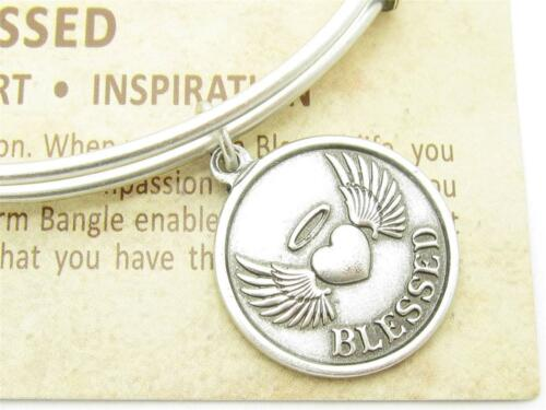 Wind and Fire Blessed Heart Charm Silver Wire Stackable Bangle Bracelet USA Gift