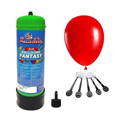 Kit Bombola Gas Elio da 2,2 lt. per palloncini con 20 Palloncini Led Rossi