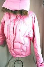 Ski Jacket DC Shoes Pink Cancer Ribbon Snow Puffer Sports Coat Size 4 6 8 10 New