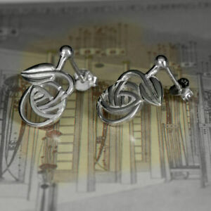 Sterling-Silver-Charles-Rennie-Mackintosh-Stud-Earrings-034-Nouveau-034