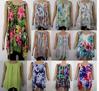New Ladies Print Plus Size Hanky Hem Women Sleeveless Scoop Neck Vest Top 16- 26