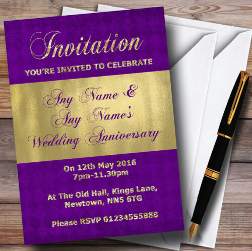 Purple And Glitter Look Gold Wedding Anniversary Party Personalised Invitations