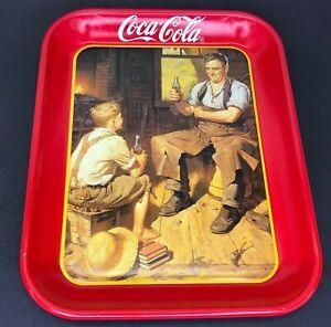 Vintage 1987 Coca-Cola Soda Pop Ad Restaurant Serving Tray Gas / Oil Metal Sign