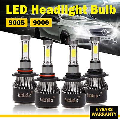 4Pcs 9006 9005 LED Headlights Kit 800W High Low Beam Bulbs For Chevy Silverado