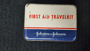 Vintage-Johnson-amp-Johnson-First-Aid-TravelKit-with-Supplies